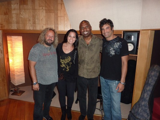 Gilat recording with drummer Tal Bergman, bass player Mike Merritt, and guitarist Marcus Nand
