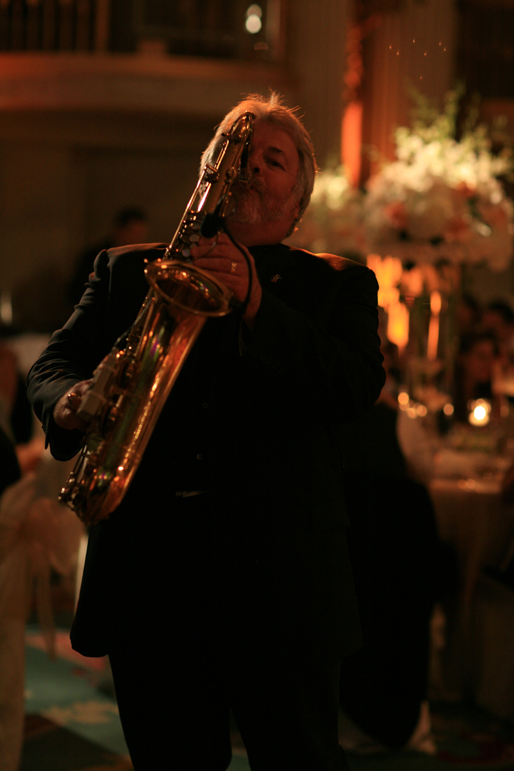 Romantic Sax playing during dinner